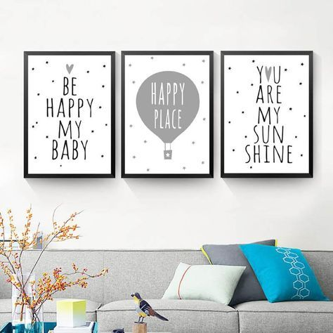 nordic art cartoon poster minimalist canvas painting motivational my baby quotes wall picture modern children room decor hd2251