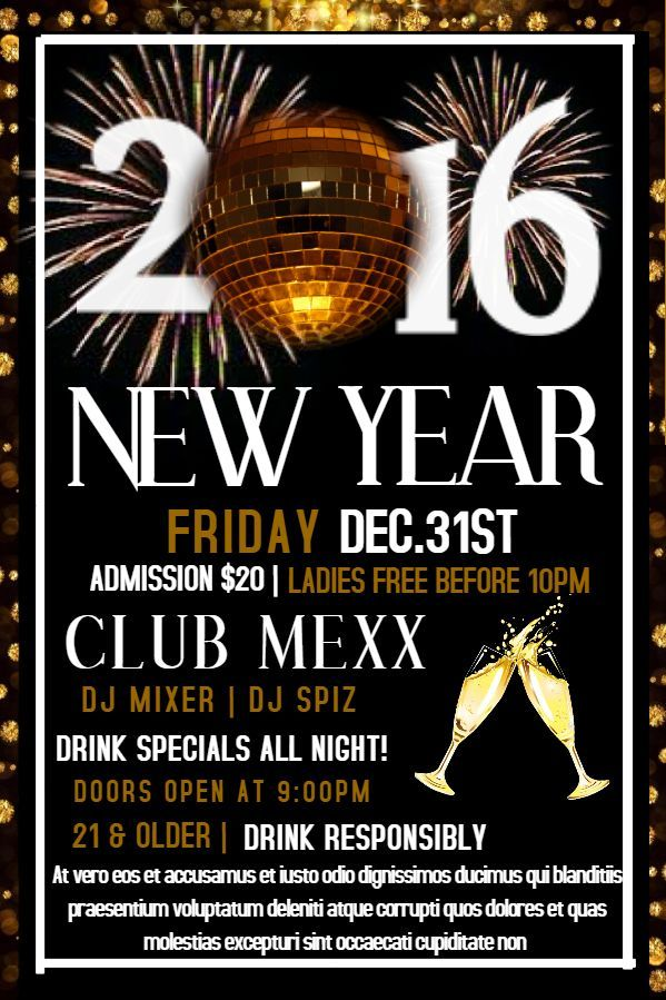 happy new year 2017 party flyer poster template
