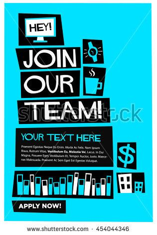 join our team flat style vector illustration recruitment poster