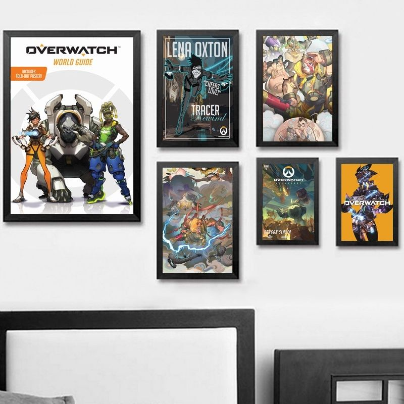 Overwatch Poster Terhebat 5 Pieces Game Poster Overwatch Genji and Hanzo Canvas Painting