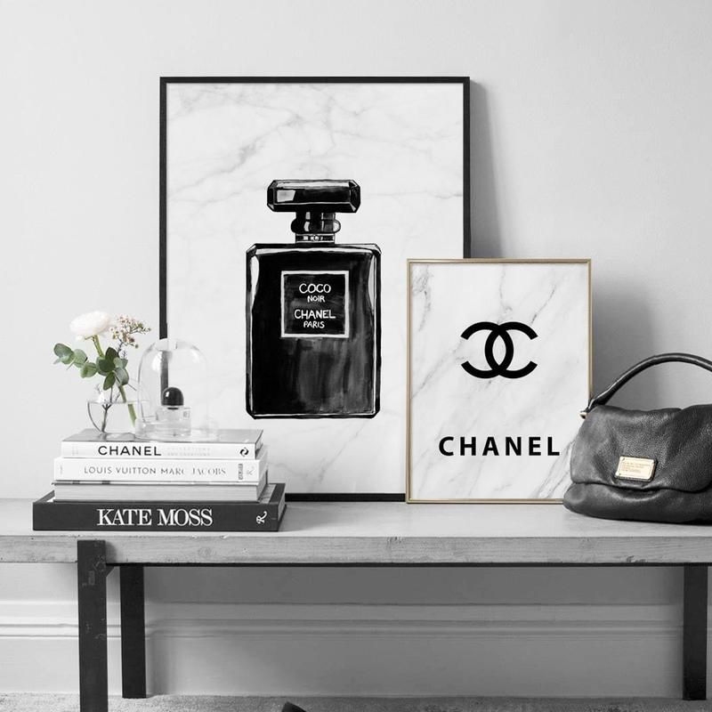 canvas art print marble coco chanel perfume fashion black white canvas soleil australia co