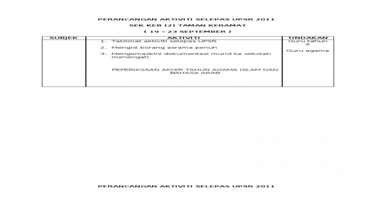 Pertandingan Teka Silang Kata Bahasa Melayu Bernilai Perancangan Selepas Upsr 2011 Pdf Document
