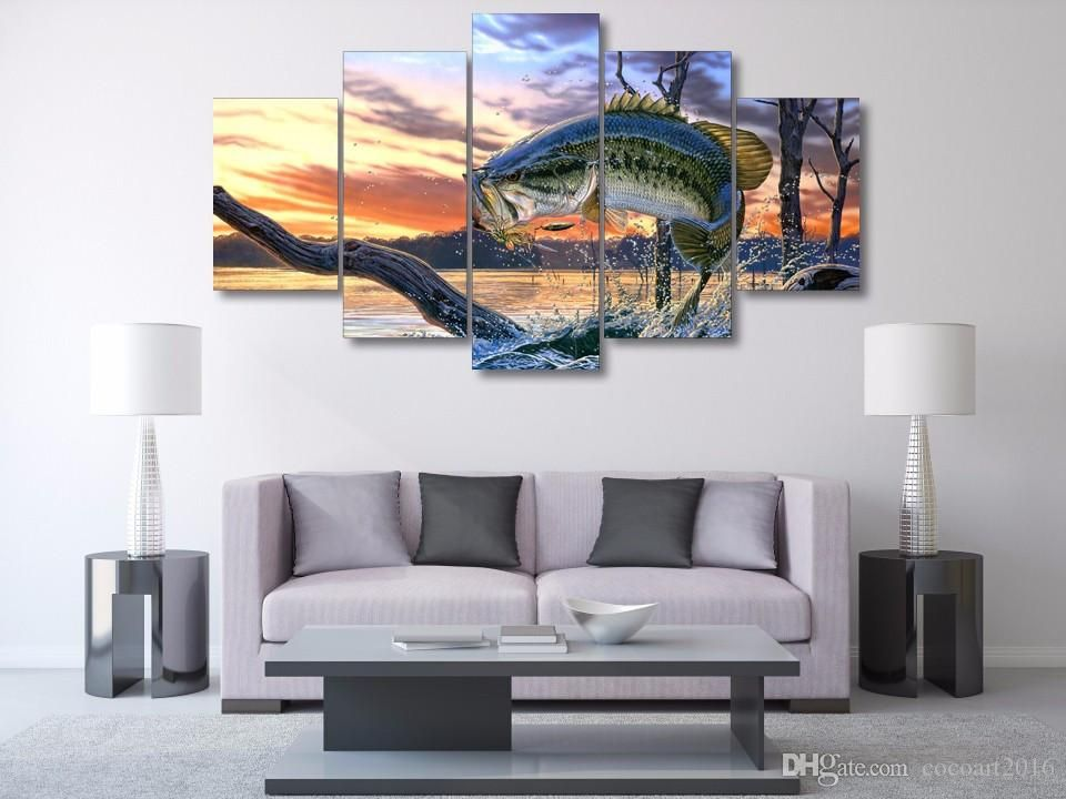 framed hd printed bass jumping fish sunset picture wall art canvas print room decor poster canvas