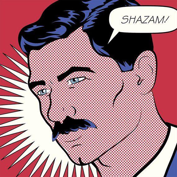 archer pop art quote and illustration shazam lichtenstein inspired print midcentury style