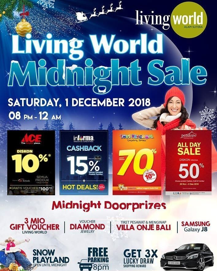 Poster Acara Penting Rasakan Diskon Sampai 70 Hanya Di Living World Midnight Sale Side Id