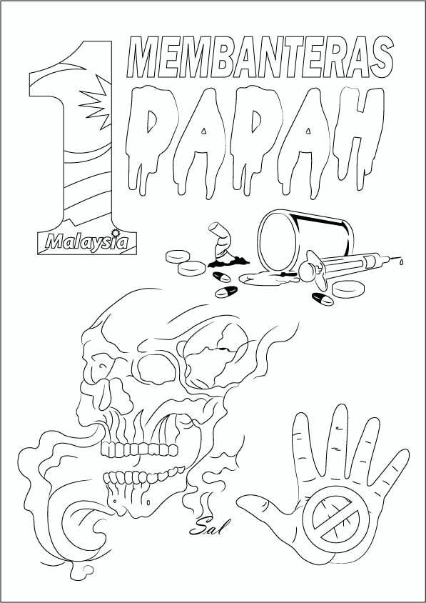 gambar untuk mewarna anti dadah terbaik download gambar anti dadah coloring download gambar anti dadah