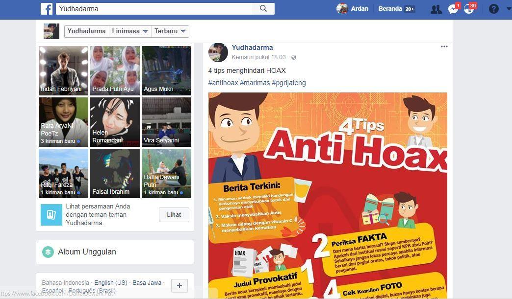 satu persatu poster anti hoax anak anak menghiasi linimasa facebook dan istagram mereka membagi poster itu kepada teman saudara dan warga masyarakat