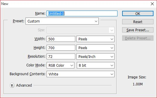 karena disini kami akan membuat sebuah poster maka ukuran yang kami gunakan adalah 500 x 700 pixels dengan resolusi di angka 72 pixel inch dan menggunakan