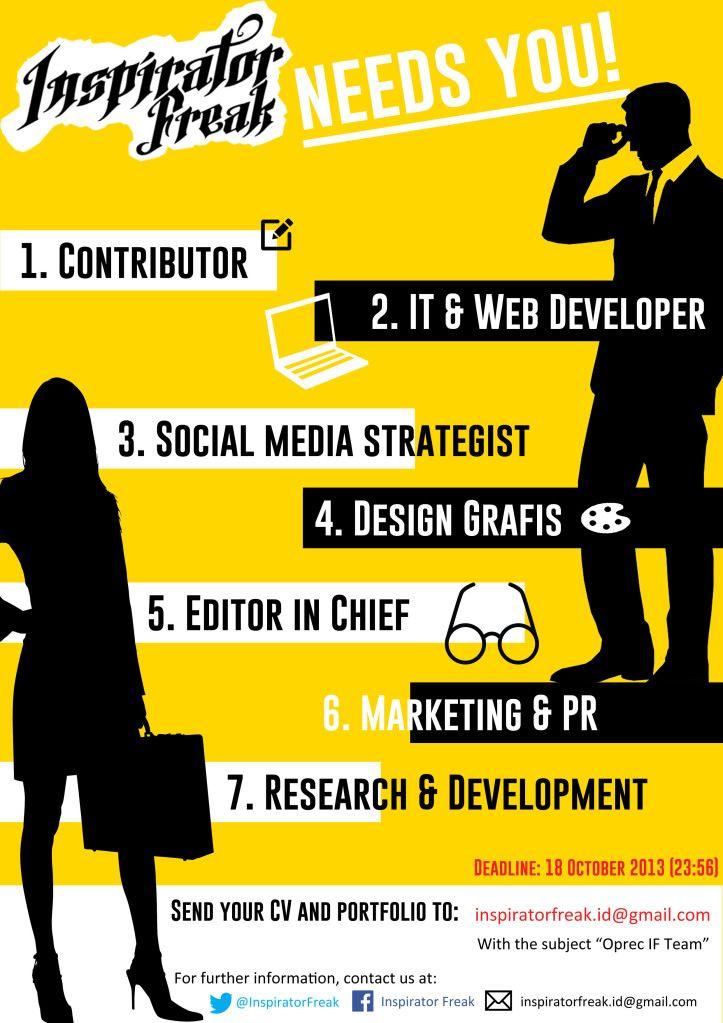 Poster Bakti sosial Meletup Open Recruitment Inspirator Freak S Team Inspirator Freak