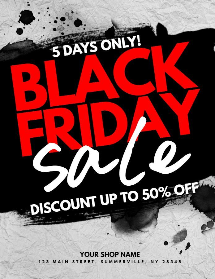 custom black friday sale poster social media graphic design template