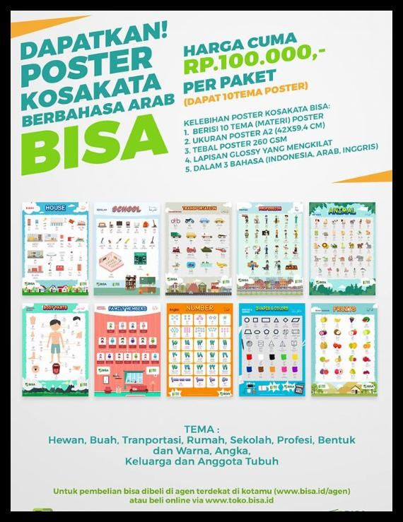 best seller poster kosakata 3 bahasa arab inggris indonesia
