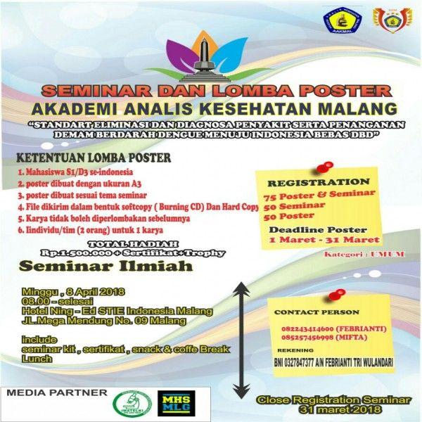 Poster Demam Berdarah Hebat Seminar Ilmiah Dan Lomba Poster Aakmal 2018 Akademi Analis
