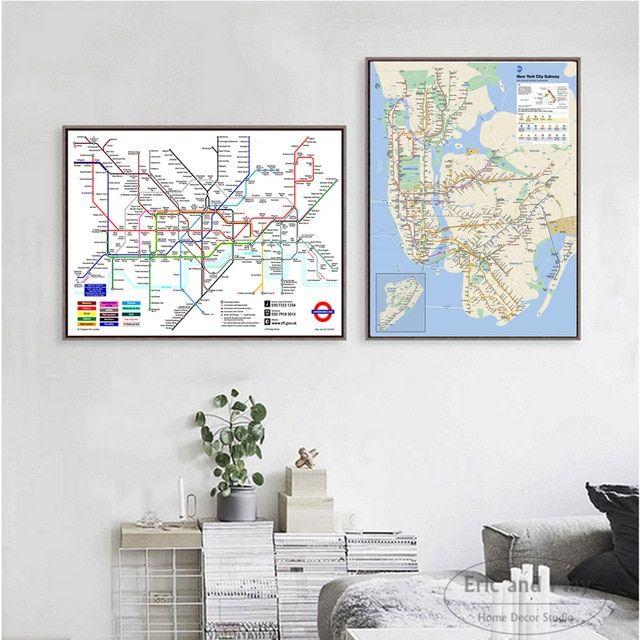dunia kereta bawah tanah metro peta poster dan cetakan kanvas seni dekoratif dinding gambar untuk ruang