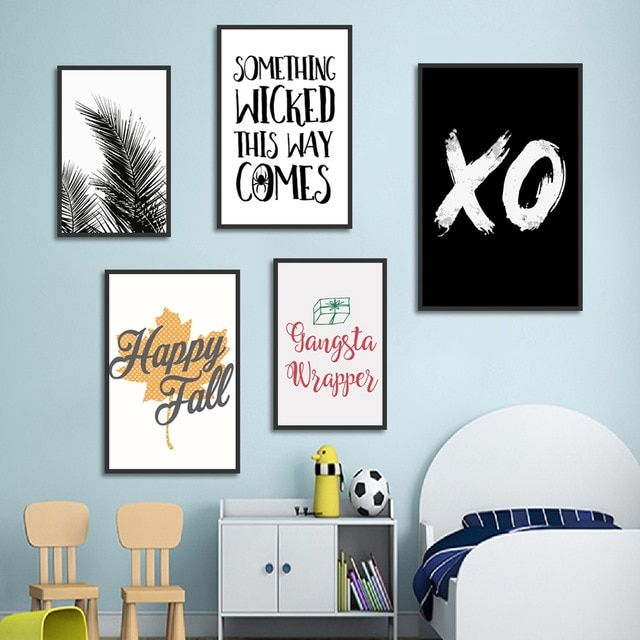 hitam daun xo quotes wall art print lukisan kanvas nordic poster dinding abstrak gambar untuk ruang