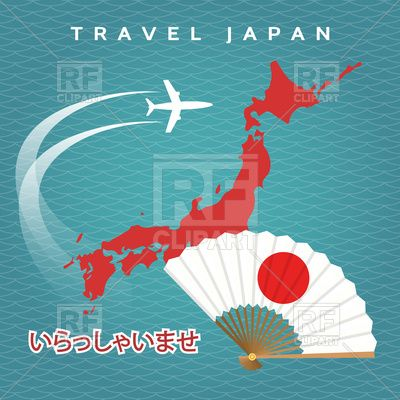 japanese travel poster with japan map airplane and fan on blue background vector image