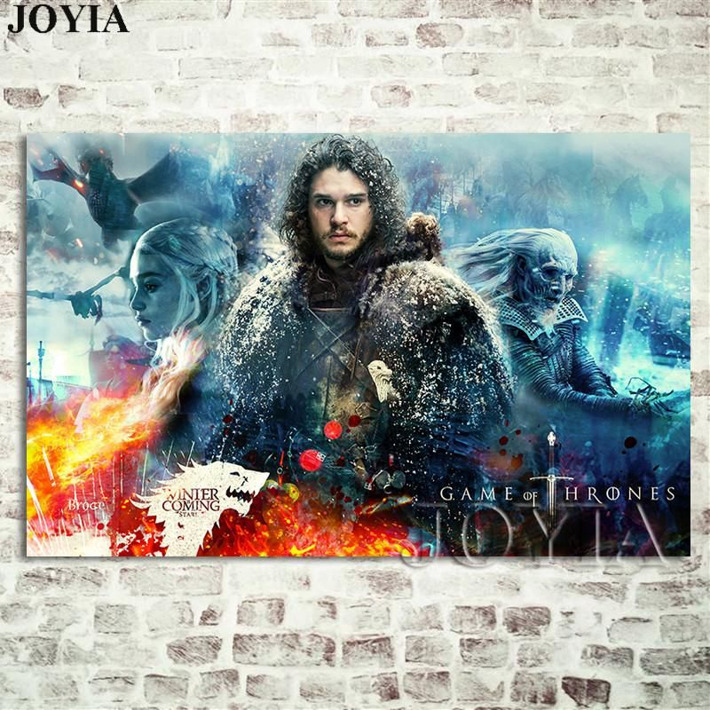 Poster Game Bernilai 2019 Season 7 Wall Poster Jon Snow Prints the Wall Decoration