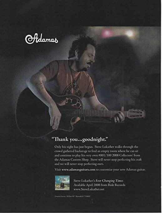 amazon com magazine print ad 2008 steve lukather for adamas custom shop 001 100 2008 collectors acoustic electric guitar thank you