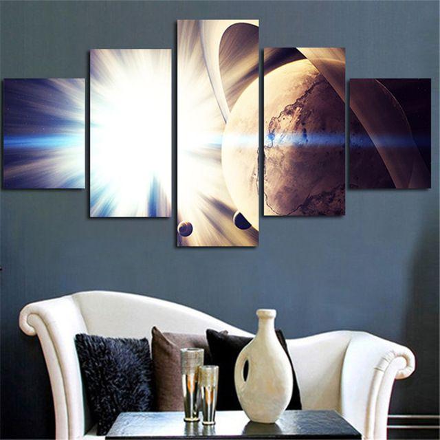 2016 dibingkai kanvas gambar seni dinding lukisan cahaya terang untuk bumi poster dicetak 5 pesawat dekorasi
