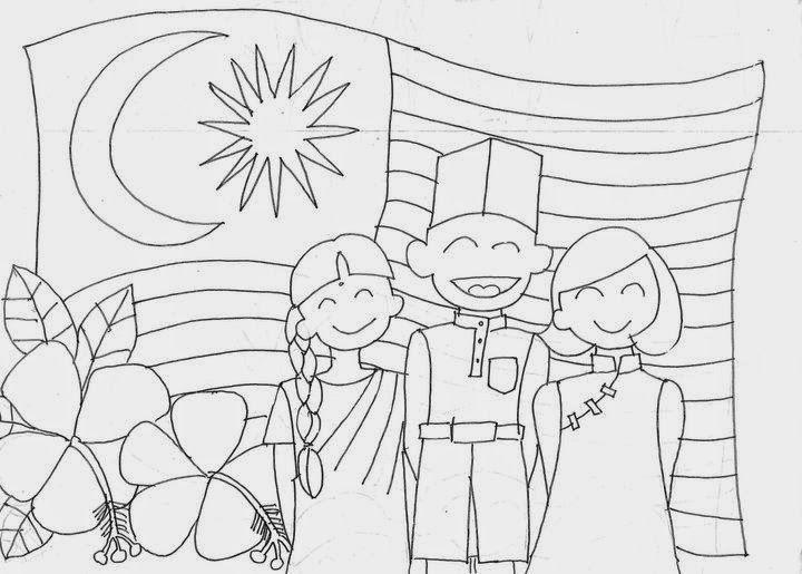 hari kemerdekaan malaysia sketch coloring page