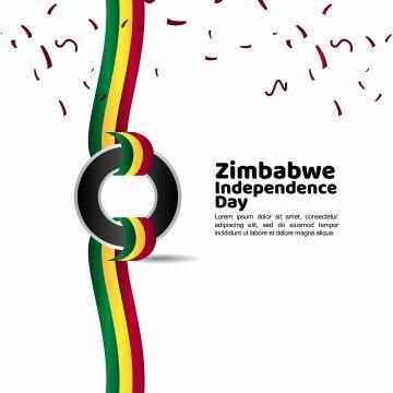 Poster Hari Kemerdekaan Penting Zimbabwe Gembira Kemerdekaan Hari Dengan Negara Bendera Lencana Dan