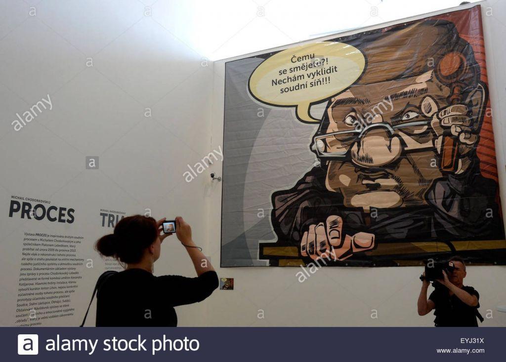 poster kartun penting eroffnung ausstellung od trial von mikhail khodorkovski inspiriert