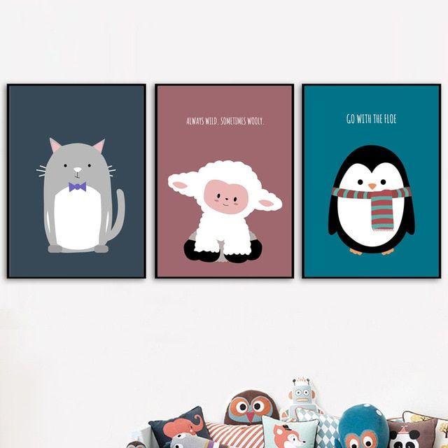 Poster Hewan Langka Bernilai nordic Kamar Dekorasi Lukisan Kanvas Kucing Domba Penguin Hewan