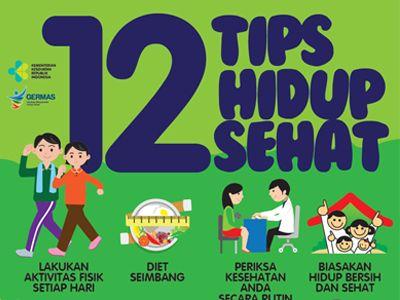 Poster Hidup Sehat Baik Flyer 2018 12 Tips Hidup Sehat 15x21cm