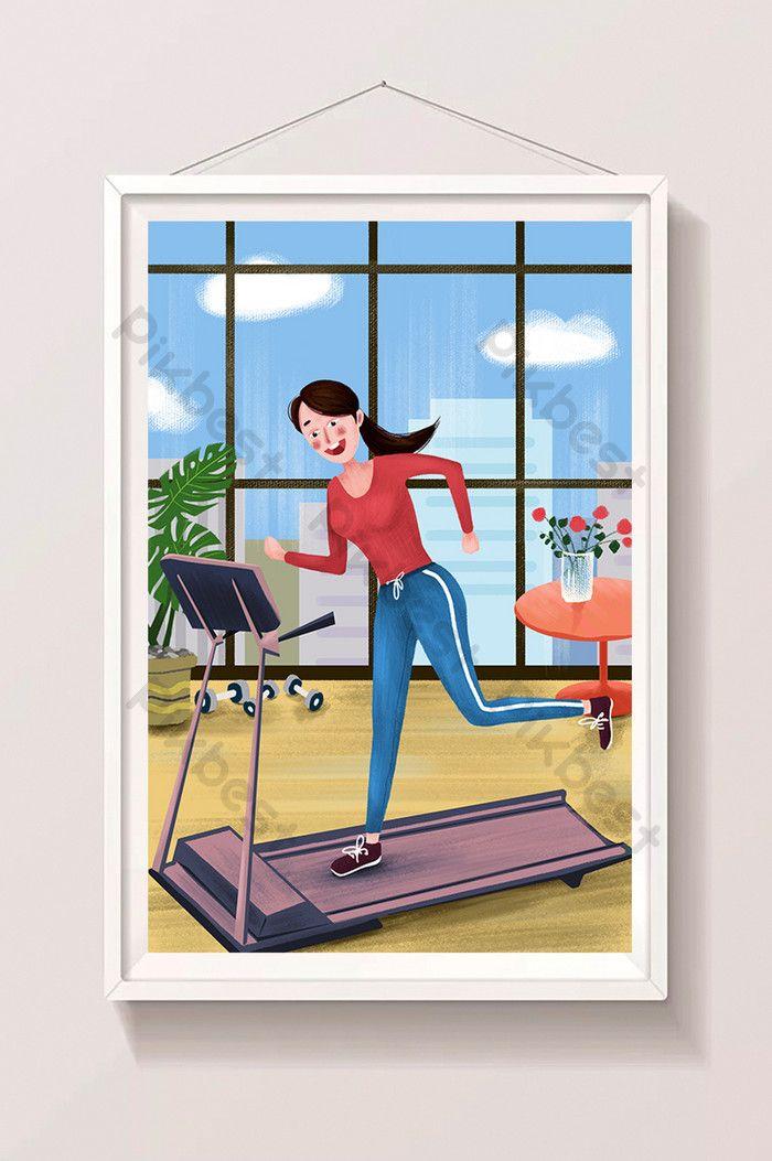 poster ilustrasi gaya hidup sehat dalam ruangan olahraga treadmill