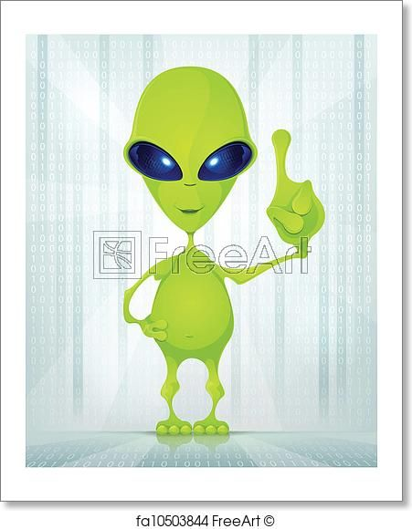 Poster Idea Power Free Art Print Of Cute Alien Cartoon Character Funny Alien On