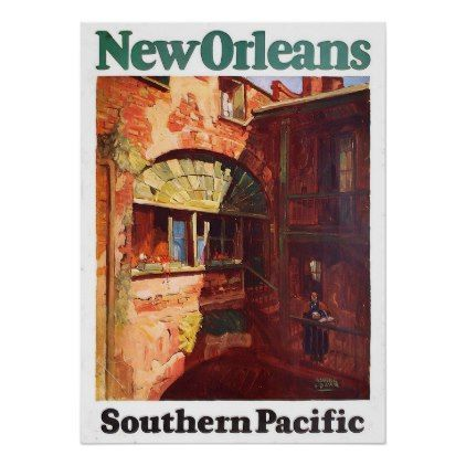 vintage 1929 new orleans southern pacific travel poster retro gifts style cyo diy special idea