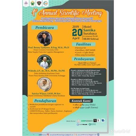 1st annual scientific meeting lomba poster dan lomba iklan layanan masyarakat tanggal 20 april 2019 pameran penyerahan hadiah
