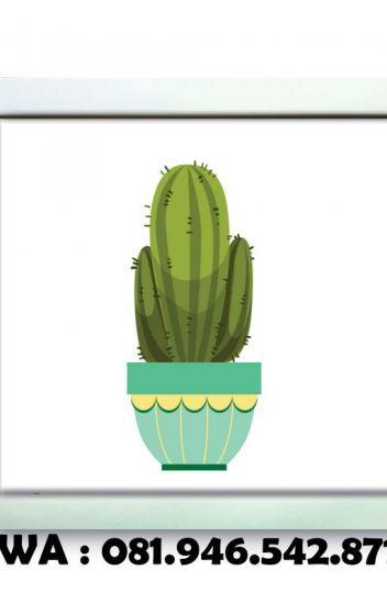 081 946 542 871 poster dinding unik gambar kaktus kartun