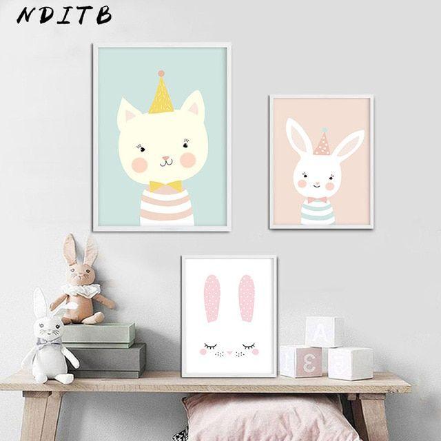 hewan hutan kartun kanvas poster nursery wall art print lukisan singa kelinci nordic kids dekorasi gambar