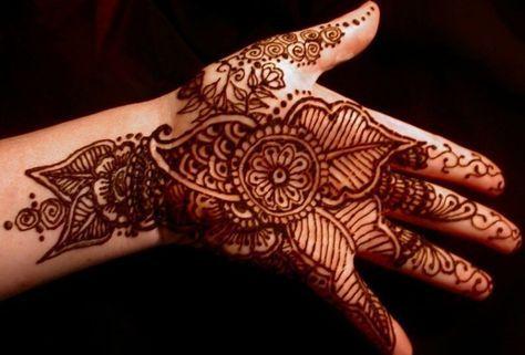 gambar henna tangan motif daun