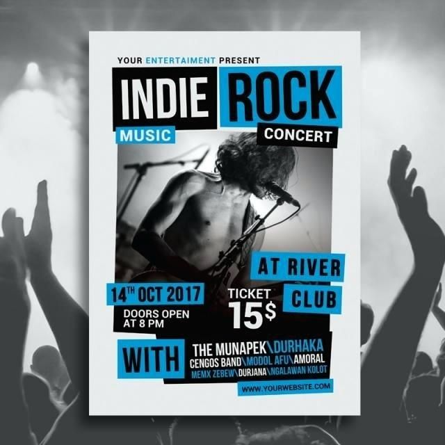 indie rock music concert poster template band psd