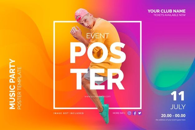 event poster template with abstract shapes