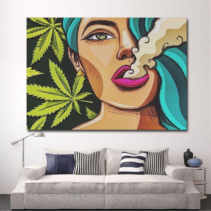 Poster Merokok Bermanfaat Mutu Gadis Merokok Ganja Dinding Seni Gambar Kanvas Lukisan Poster