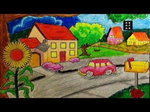 gambar mewarna kartun penting cara mewarnai sekolah dan rumah dengan crayon bagus tk sd youtube