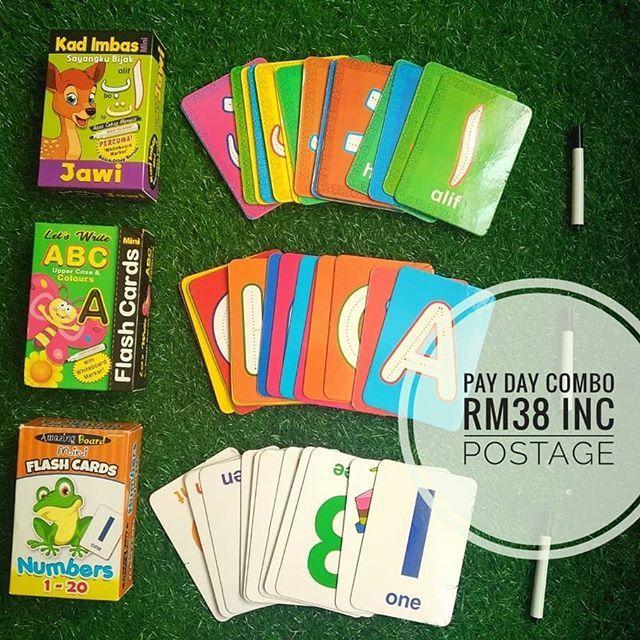flash card combo abc 123 dan jawi kit yg sangat mudah dan berguna untuk ajar anak2 mengenal huruf rm38 je termasuk postage tau