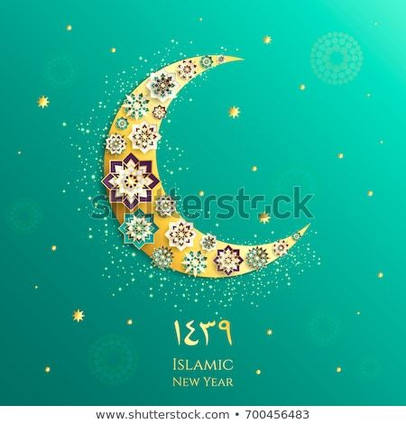 happy muharram muslim community festival eid al ul adha mubarak greeting card with 3d paper flower star moon template for menu invitation poster