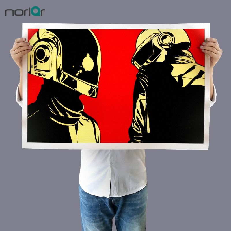 Poster Musik Terbaik Art Cetak Kanvas Lukisan Daft Punk Helm Raksasa Rumah Musik Pop Art