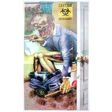 zombie toilet pintu penutup dekorasi halloween party horor creepy scary poster