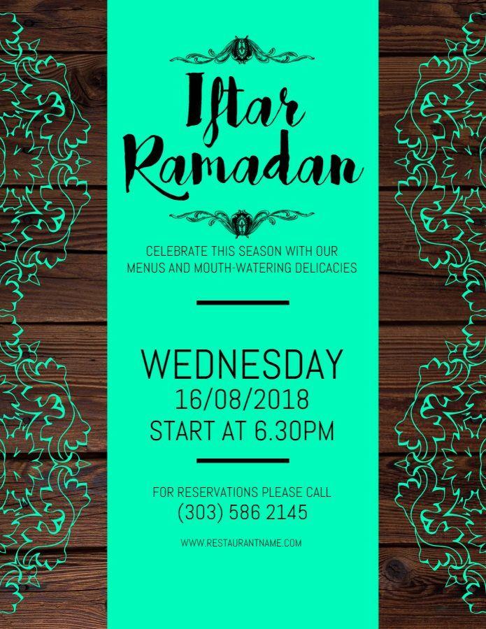 cyan iftar ramadan event poster template
