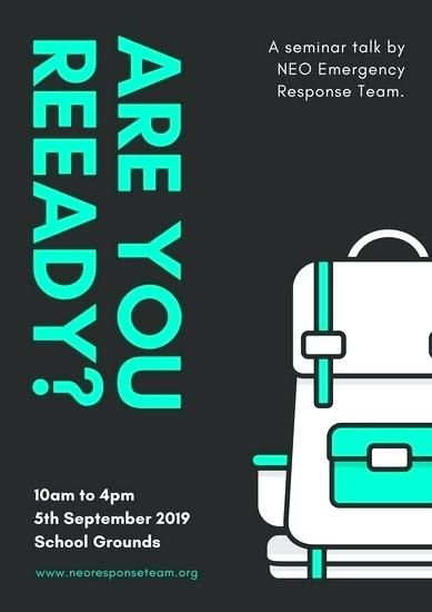 customize natural disaster emergency response poster templates report example teal backpack