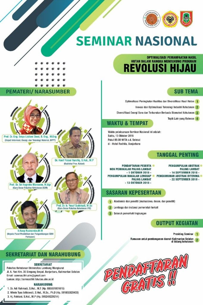 Poster Seminar Nasional Berguna Seminar Nasional Optimalisasi Pemanfaatan Hasil Hutan Ulm