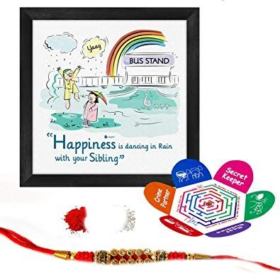 indigifts set of dancing in rain with sibling quote poster frame 6x6 inch crystal rakhi roli chawal greeting card rakhi gifts for brother amazon in