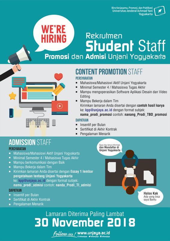 Poster Tugas Akhir Hebat Open Recruitment Student Staff Unjani Yogyakarta