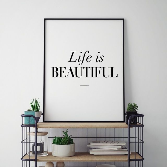 Poster Typography Meletup Modern Home Decor Beautiful Life Typography Quote Canvas Art Print