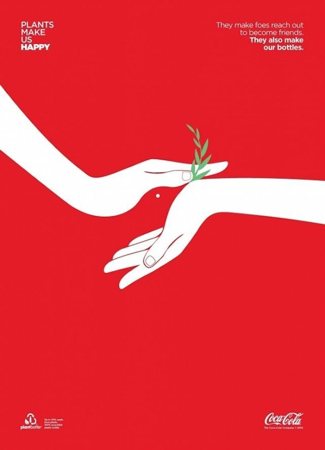 coca cola posters playing on negative space advertising the first fully recyclable plastic bottle made partially from plants