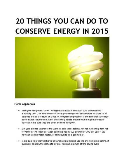 20 things you can do to conserve energy in 2015 by lissa coffey